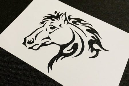 #2 HORSES Rearing Silhouette 2pcs Airbrushing Stencil Card Craft Farm Decoration