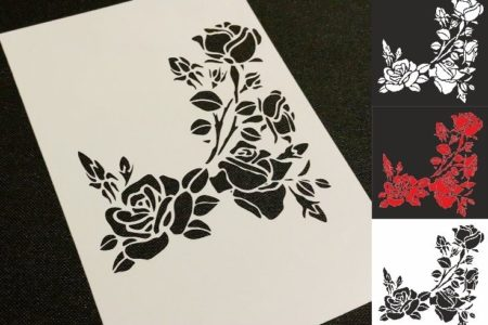 POPPY 3 pcs and Leafs Different Style Flowers Poppies Airbrush Stencil Card Body