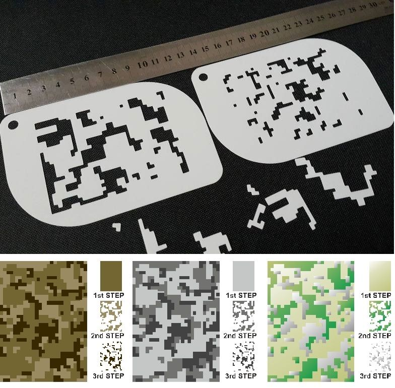 Set of 2pcs Camouflage Airbrush Stencils Army Body Face Cake Decoration Reusable