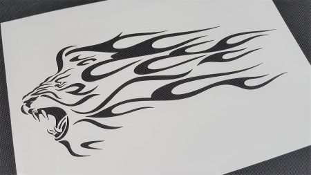 Lion Flame Fire Tribal Airbrush Stencil Bike Car Animal Reusable Craft  Template